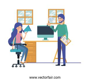 couple in the work office with white background