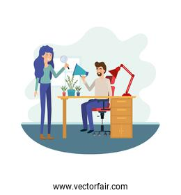 couple in the work office avatar character