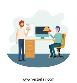 men in the work office with white background