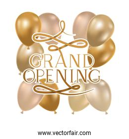 grand opening label with helium balloons