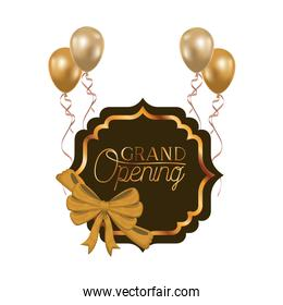 frame and helium balloons with label grand opening