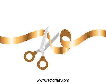 scissors with ribbon on white background