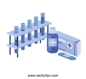 laboratory instruments with medicines in white background