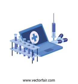 laptop and laboratory instruments isolated icon