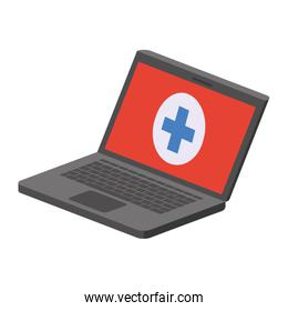 laptop with medical symbol isolated icon