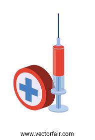 syringe with liquid isolated icon