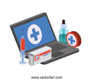 laptop with medicine drugs in white background