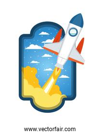 frame with rocket taking off in clouds background
