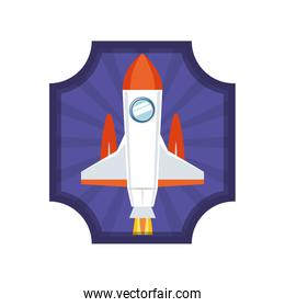 frame with rocket taking off icon