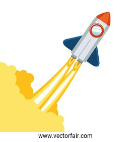 rocket taking off in white background