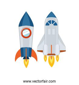 rockets taking off in white background
