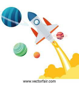 rocket in the space with planets of the solar system