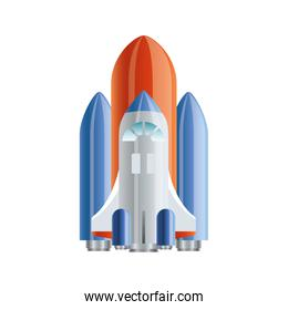 rocket flying with white background