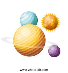 planets of the solar system isolated icon