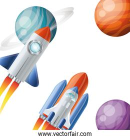 rockets flying with planets of the solar system background