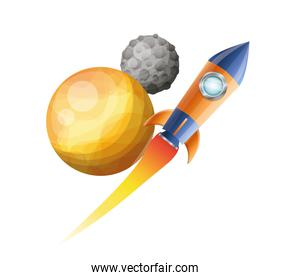 rocket flying with planets of the solar system background