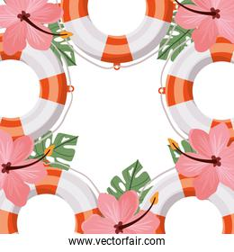 pattern of lifesaving with flower summer in white background
