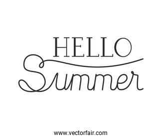 hello summer label isolated icon