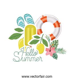 hello summer banner with summer objects
