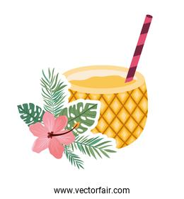 pineapple cocktail for summer on white background