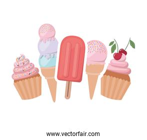 delicious cupcakes and ice cream for summer
