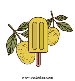 ice cream of tropical fruits on white background