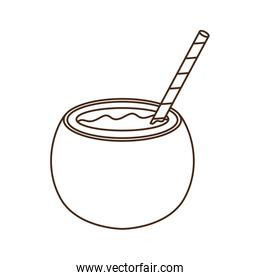 coconut water for summer heat on white background