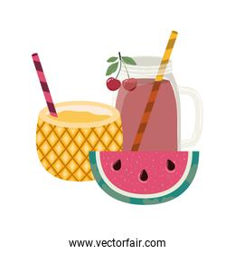 glass with refreshing drink for summer