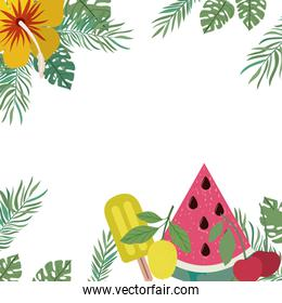 pattern of delicious tropical fruits of summer