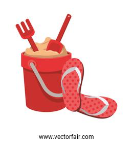 sand bucket with tools to play and slipper