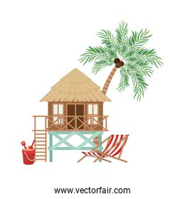wooden house on the beach
