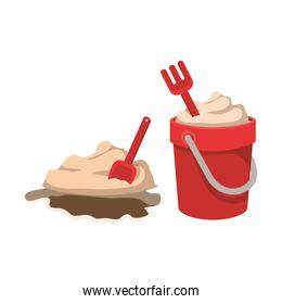 sand bucket with tools to play