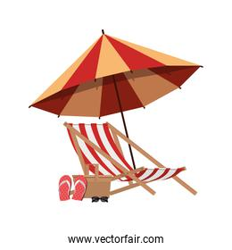 umbrella striped with beach chair in white background