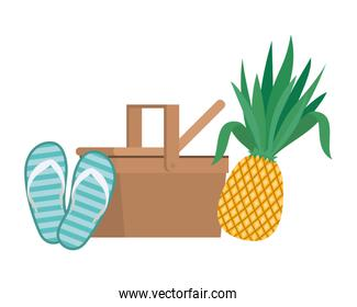 picnic basket with tropical fruits on white background