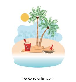 palm tree with coconut and sand bucket