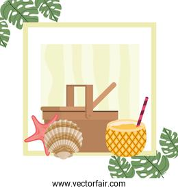 picnic basket with pineapple cocktail on white background