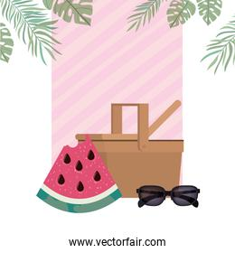 picnic basket with portion of watermelon