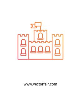 silhouette of sand castle on white background