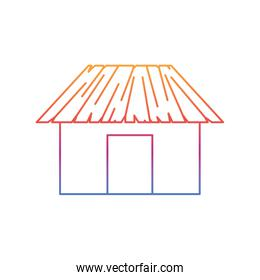 silhouette of house on the beach with white background