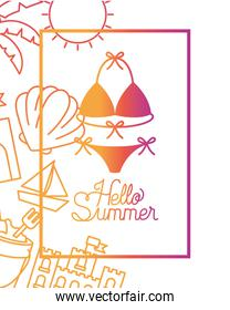 hello summer label with colorful image
