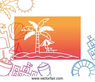 pattern of summer objects with white background