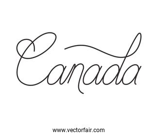 Isolated canada word design