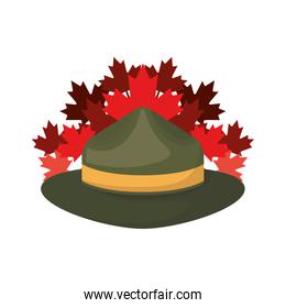 Hat and maple leaf design