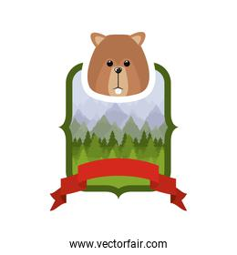 Isolated beaver forest animal design