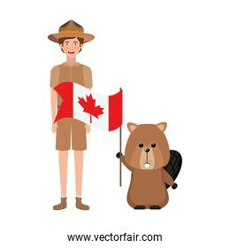 Beaver forest animal and ranger of canada design