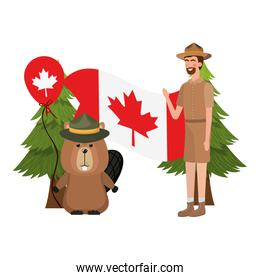 Beaver forest and ranger of canada design