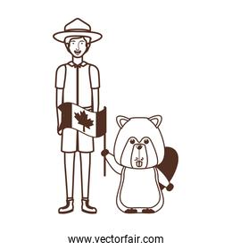 Isolated beaver animal and ranger design vector illustration