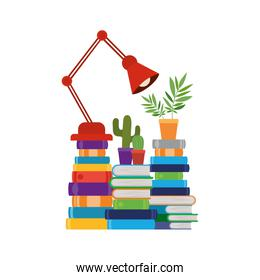stack of books with lamp in white background