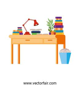 desk with stack of books on white background