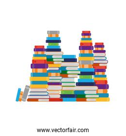 stack of books on white background isolated icon